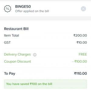 Swiggy referral code applied