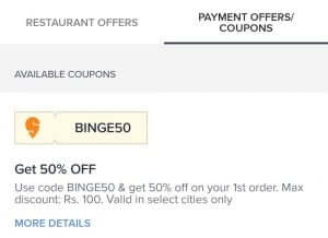 Payment offer & coupon option